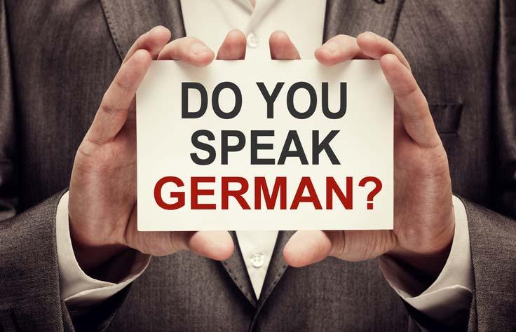 """On a tablet it says """"Sprechen Sie Deutsch?"""", Do you speak German?"""